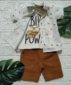 Conjunto Infantil 3 Peças Camisa Curta + Camiseta + Bermuda