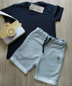 Conjunto Infantil bermuda cinza camiseta preta
