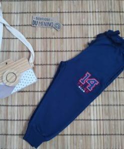 Calça Moletom Infantil Masculina com Bolso e Punho Azul Marinho- Nellonda