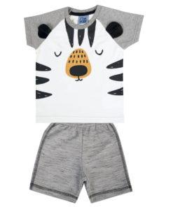 Conjunto Infantil camiseta em meia malha penteada com estampa e orelhas interativas e bermuda em moletinho rajado sem felpa