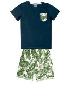 Conjunto Infantil masculino camiseta em meia malha penteada com bolso rotativo e bermuda em linho rotativo Natural