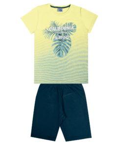 Conjunto de camiseta em meia malha penteada com estampa e bermuda em moletom jeans sem felpa