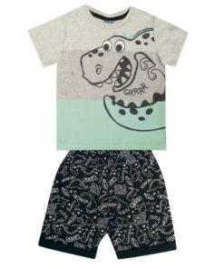 Conjunto Infantil camiseta em meia malha penteada com estampa Dino e bermuda em moletom rotativo sem felpa
