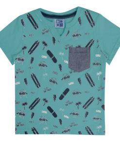 Camiseta infantil meia malha penteada com decote diferenciado estampa e bolso em chambray Ceramic