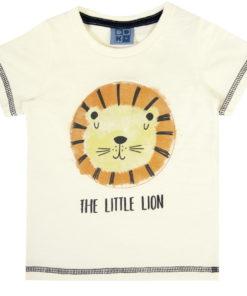 Camiseta infantil meia malha penteada estampa Leão bordado almofadado Natural