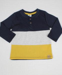 Camiseta Infantil masculina Manga Longa Tricolor com botões Marinho- By Gus