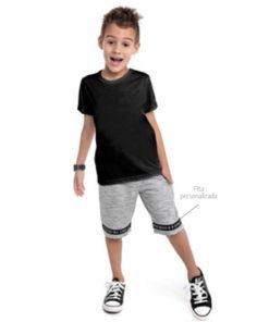 Bermuda Infantil moletom rajado sem felpa com bolso e fita personalizada Mescla