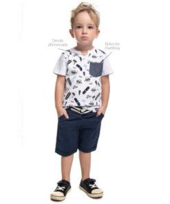 Camiseta infantil meia malha penteada com decote diferenciado estampa e bolso em chambray Branco