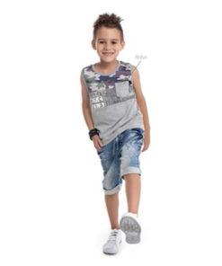 Regata Infantil Machão em meia malha penteada com estampa e bolso Mescla