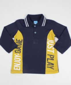 Polo manga longa Infantil masculina estampada Enjoy Game Azul