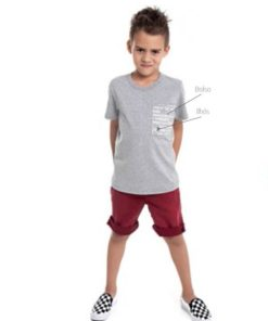 Camiseta Infantil meia malha penteada com bolso estampado e ilhós decorativo Mescla